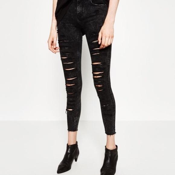 Zara Denim - High waist Zara distressed skinny black jeans NWT